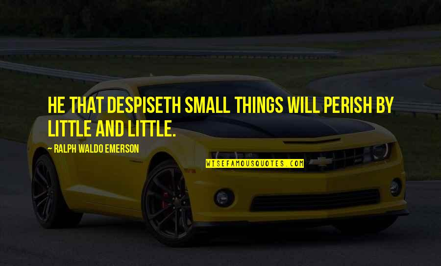 Despiseth Quotes By Ralph Waldo Emerson: He that despiseth small things will perish by