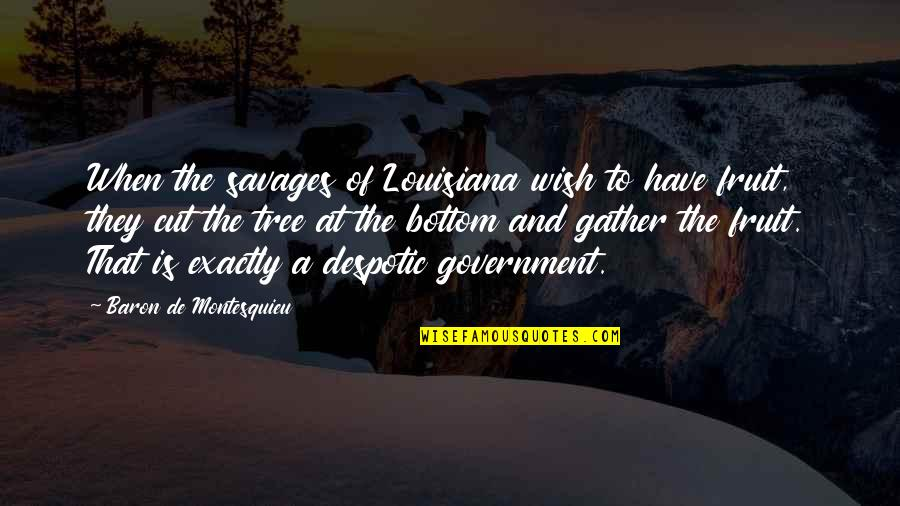 Despotic Quotes By Baron De Montesquieu: When the savages of Louisiana wish to have