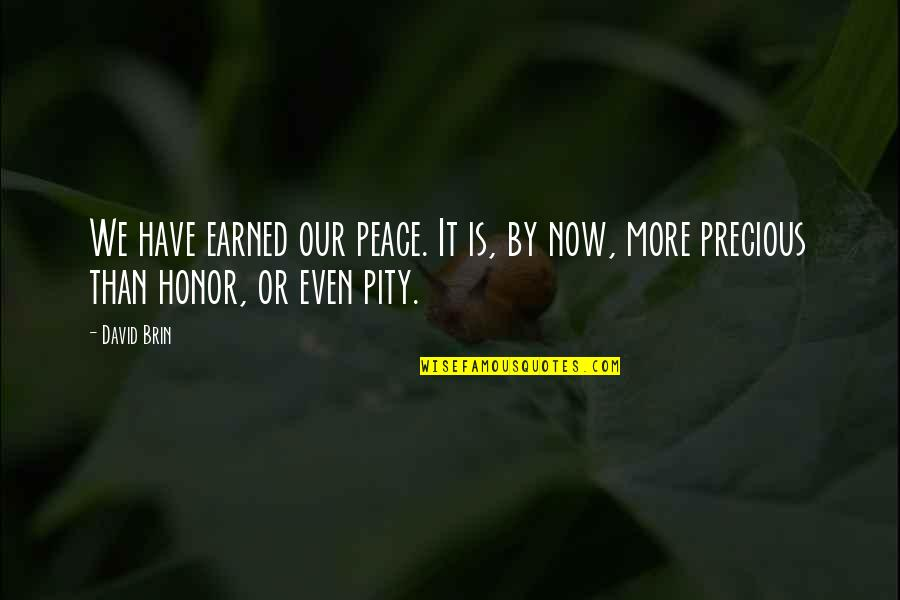 Desserts Quotes By David Brin: We have earned our peace. It is, by