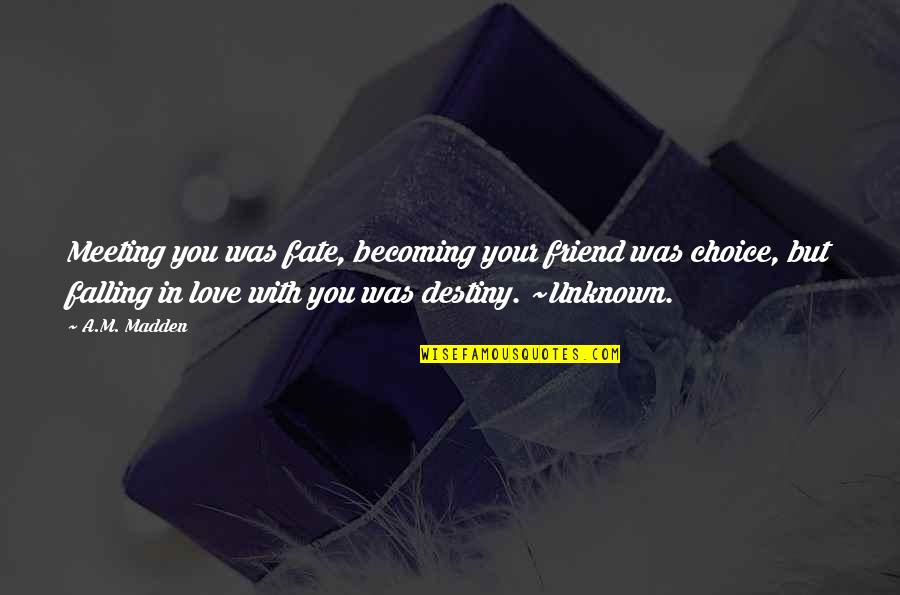 Destiny And Fate And Love Quotes By A.M. Madden: Meeting you was fate, becoming your friend was