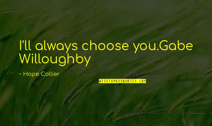 Destiny And Fate And Love Quotes By Hope Collier: I'll always choose you.Gabe Willoughby