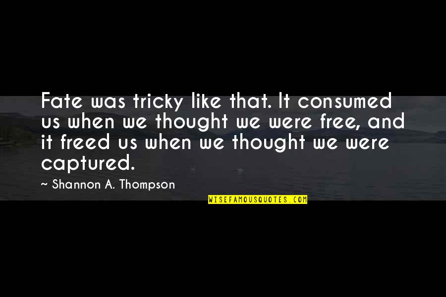 Destiny And Fate And Love Quotes By Shannon A. Thompson: Fate was tricky like that. It consumed us
