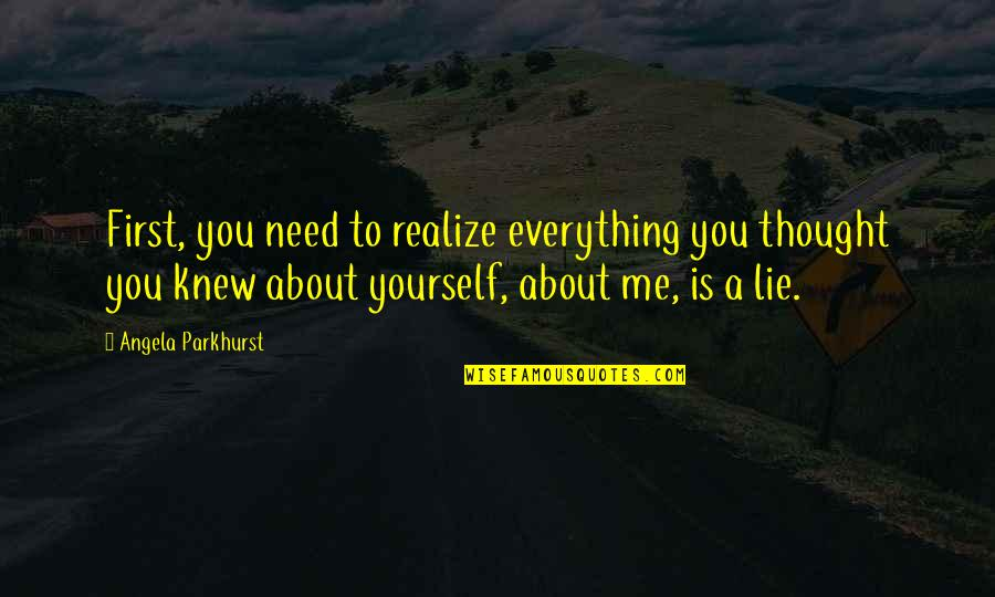 Destiny Fate Quotes By Angela Parkhurst: First, you need to realize everything you thought