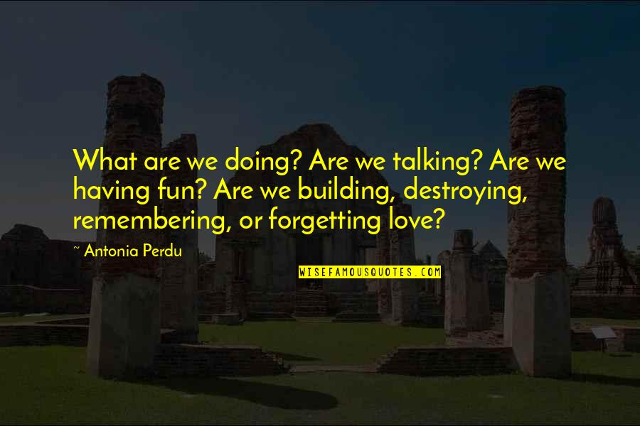Destroying What You Love Quotes By Antonia Perdu: What are we doing? Are we talking? Are