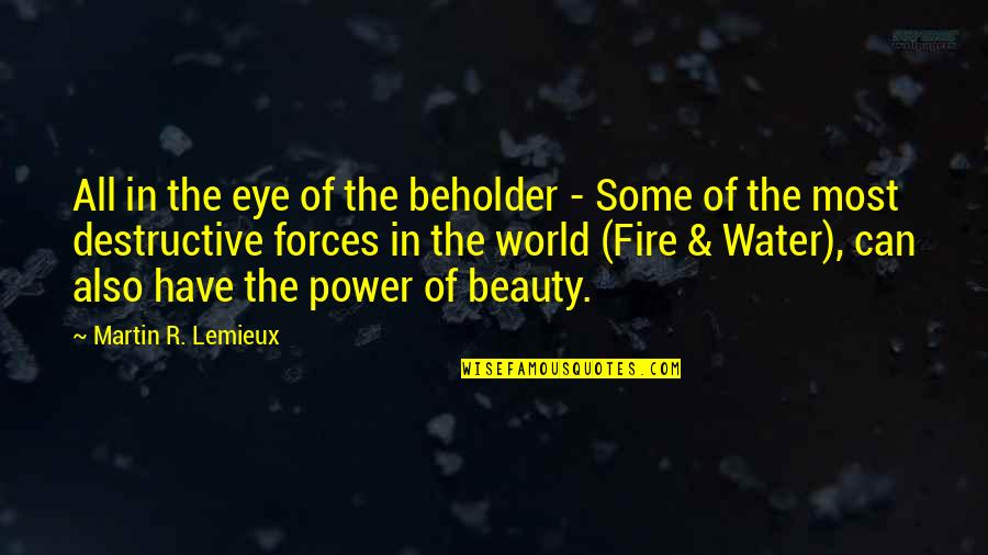 Destructive Forces Of Nature Quotes By Martin R. Lemieux: All in the eye of the beholder -