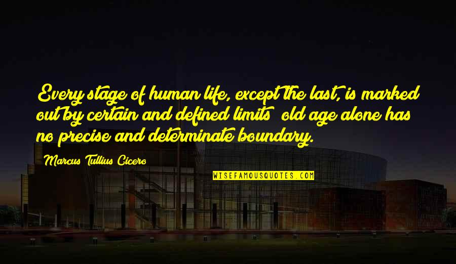 Determinate Quotes By Marcus Tullius Cicero: Every stage of human life, except the last,