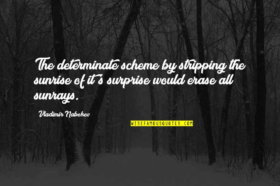 Determinate Quotes By Vladimir Nabokov: The determinate scheme by stripping the sunrise of