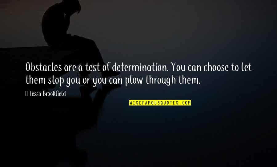 Determination To Success Quotes By Tessa Brookfield: Obstacles are a test of determination. You can