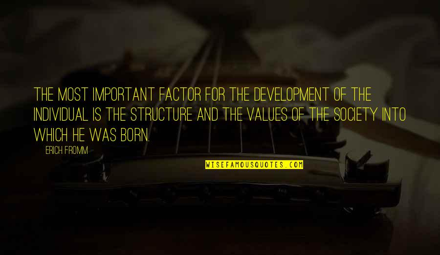 Development Of Society Quotes By Erich Fromm: The most important factor for the development of