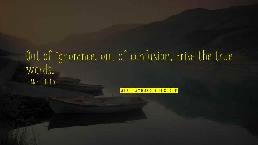 Developmentally Disabled Quotes By Marty Rubin: Out of ignorance, out of confusion, arise the