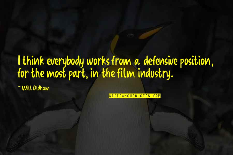 Devious Quotes And Quotes By Will Oldham: I think everybody works from a defensive position,