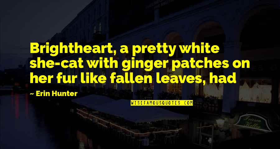 Devlin Adams Quotes By Erin Hunter: Brightheart, a pretty white she-cat with ginger patches