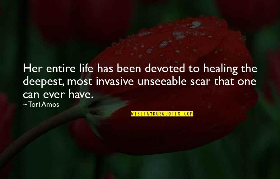 Devoted Quotes By Tori Amos: Her entire life has been devoted to healing