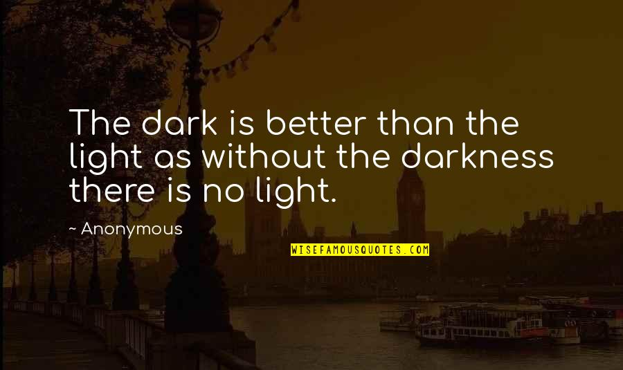 Devoted Teacher Quotes By Anonymous: The dark is better than the light as