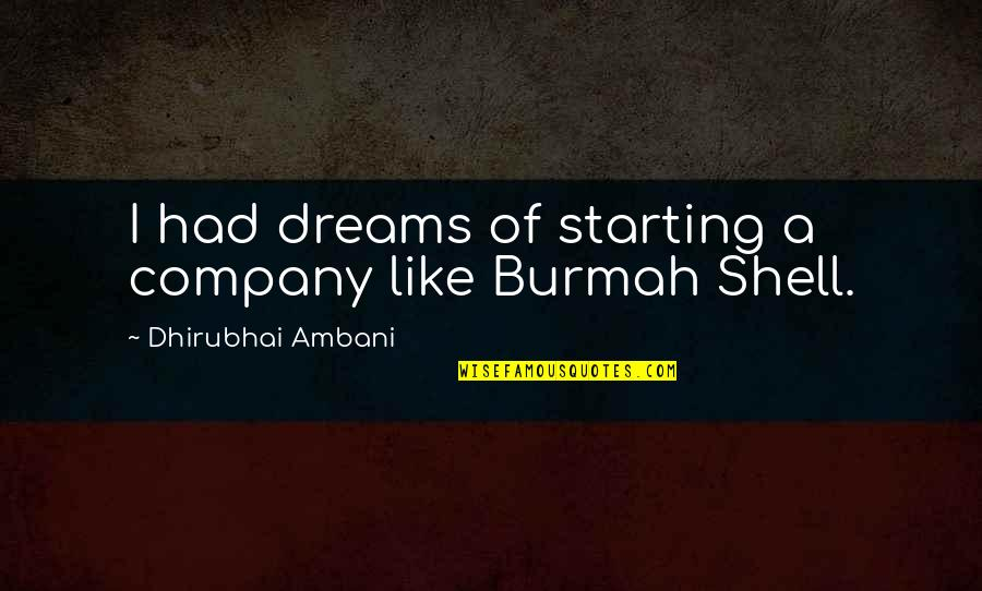 Dhirubhai Ambani Quotes By Dhirubhai Ambani: I had dreams of starting a company like