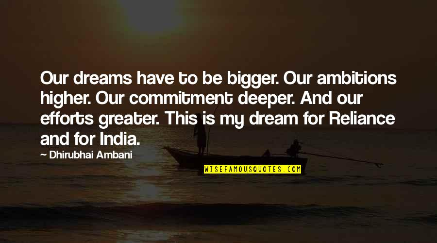 Dhirubhai Ambani Quotes By Dhirubhai Ambani: Our dreams have to be bigger. Our ambitions
