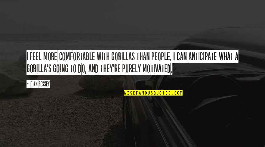 Dian Fossey Gorilla Quotes By Dian Fossey: I feel more comfortable with gorillas than people.