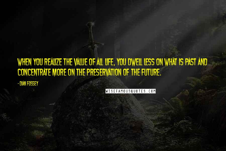 Dian Fossey quotes: When you realize the value of all life, you dwell less on what is past and concentrate more on the preservation of the future.