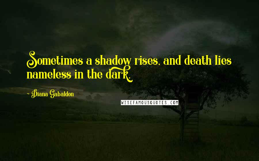 Diana Gabaldon quotes: Sometimes a shadow rises, and death lies nameless in the dark.