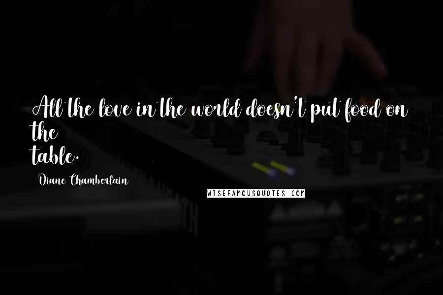 Diane Chamberlain quotes: All the love in the world doesn't put food on the table.