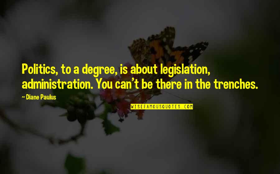 Diane Paulus Quotes By Diane Paulus: Politics, to a degree, is about legislation, administration.