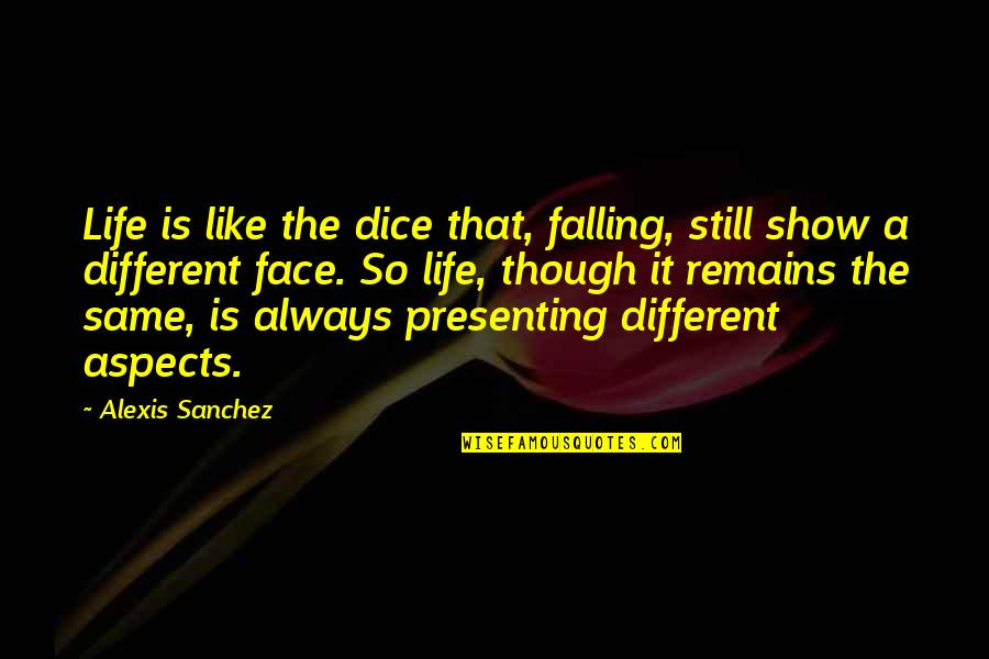 Dice Quotes By Alexis Sanchez: Life is like the dice that, falling, still