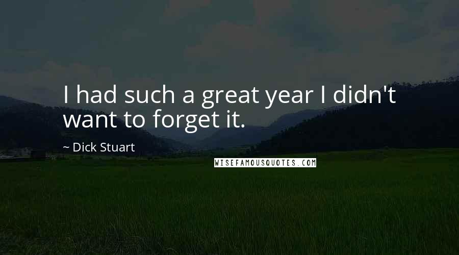 Dick Stuart quotes: I had such a great year I didn't want to forget it.