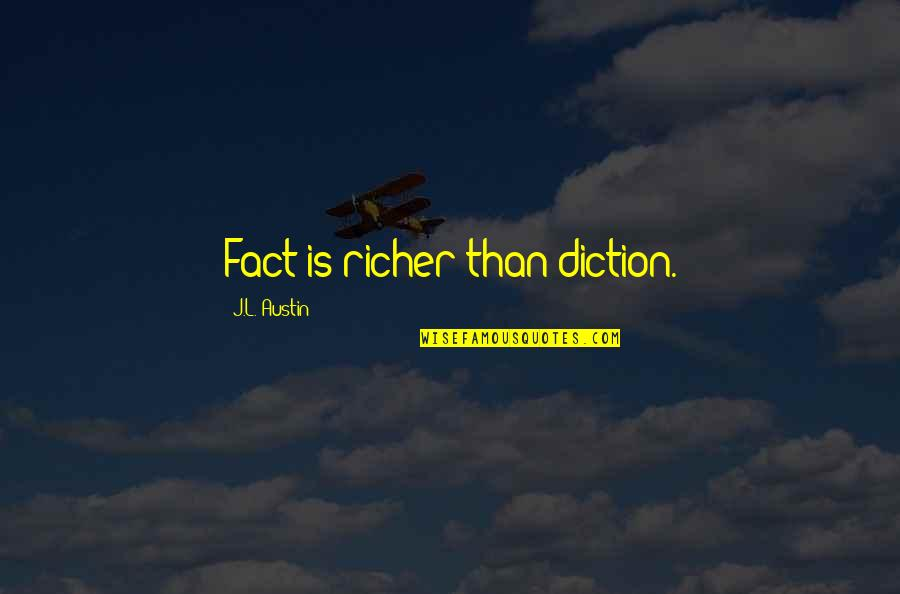 Diction Quotes By J.L. Austin: Fact is richer than diction.
