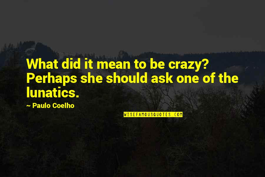 Did You Mean It Quotes By Paulo Coelho: What did it mean to be crazy? Perhaps