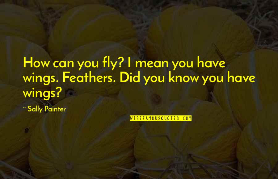Did You Mean It Quotes By Sally Painter: How can you fly? I mean you have