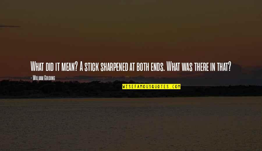 Did You Mean It Quotes By William Golding: What did it mean? A stick sharpened at