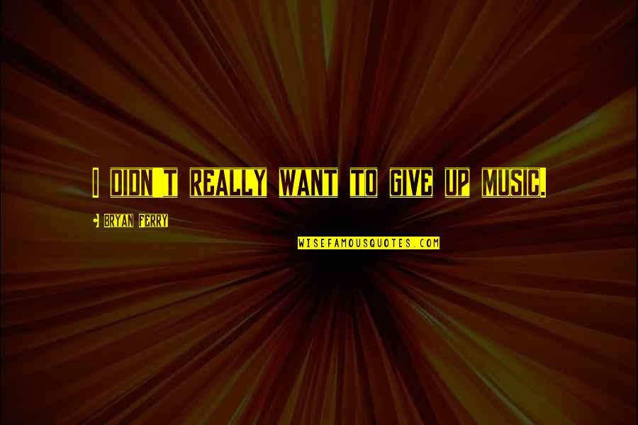 Didn't Give Up Quotes By Bryan Ferry: I didn't really want to give up music.