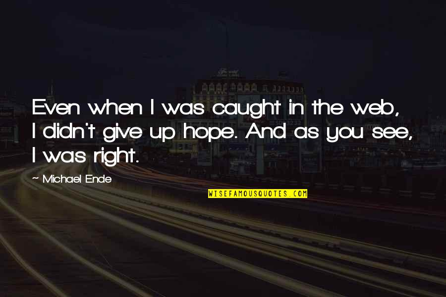 Didn't Give Up Quotes By Michael Ende: Even when I was caught in the web,