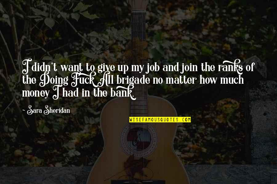 Didn't Give Up Quotes By Sara Sheridan: I didn't want to give up my job