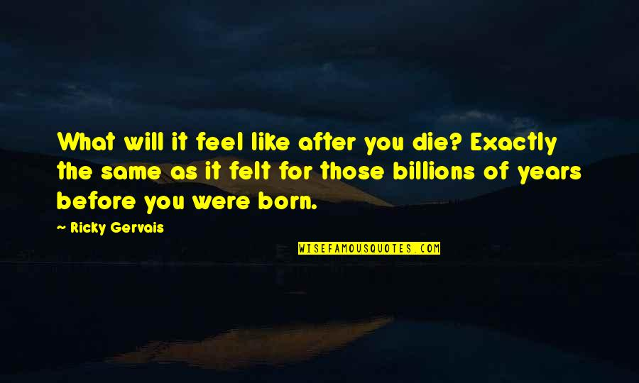 Die Before You Die Quotes By Ricky Gervais: What will it feel like after you die?