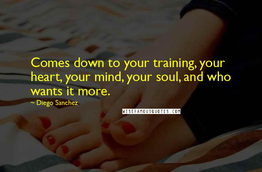 Diego Sanchez quotes: Comes down to your training, your heart, your mind, your soul, and who wants it more.