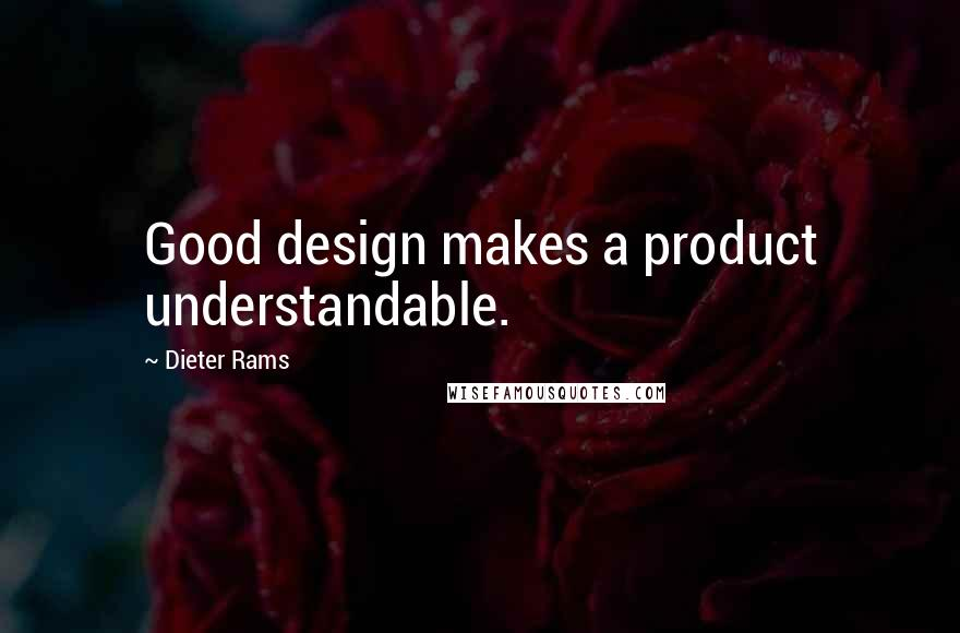 Dieter Rams quotes: Good design makes a product understandable.