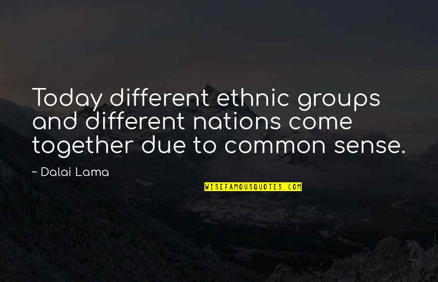 Different But Together Quotes By Dalai Lama: Today different ethnic groups and different nations come