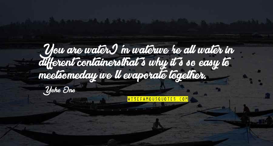 Different But Together Quotes By Yoko Ono: You are waterI'm waterwe're all water in different