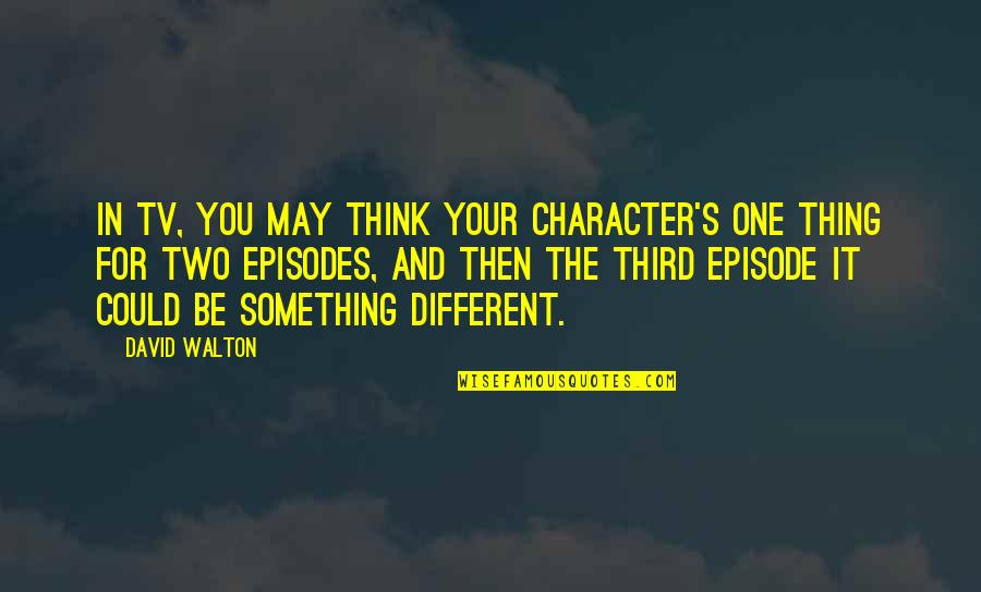 Different Character Quotes By David Walton: In TV, you may think your character's one