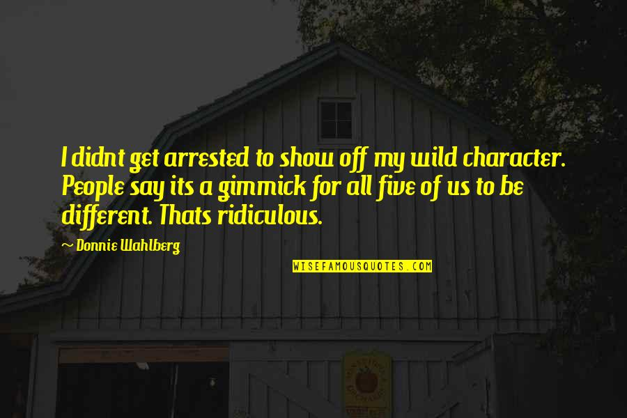 Different Character Quotes By Donnie Wahlberg: I didnt get arrested to show off my
