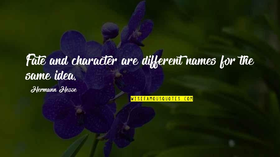 Different Character Quotes By Hermann Hesse: Fate and character are different names for the