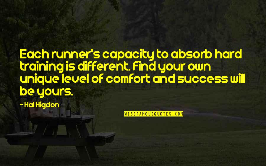 Different Levels Quotes By Hal Higdon: Each runner's capacity to absorb hard training is