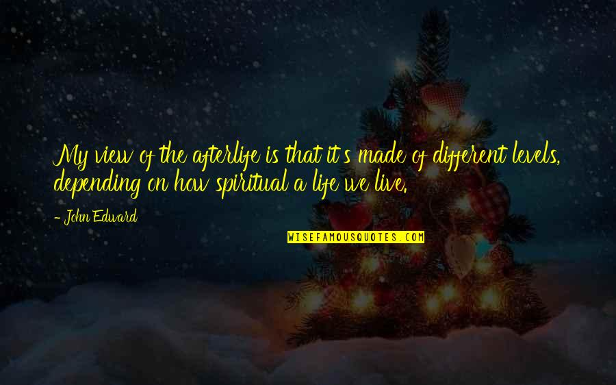Different Levels Quotes By John Edward: My view of the afterlife is that it's