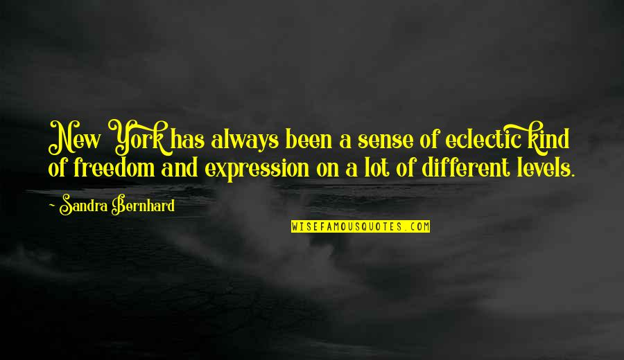 Different Levels Quotes By Sandra Bernhard: New York has always been a sense of