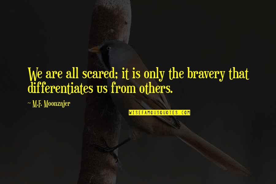 Differentiates Quotes By M.F. Moonzajer: We are all scared; it is only the