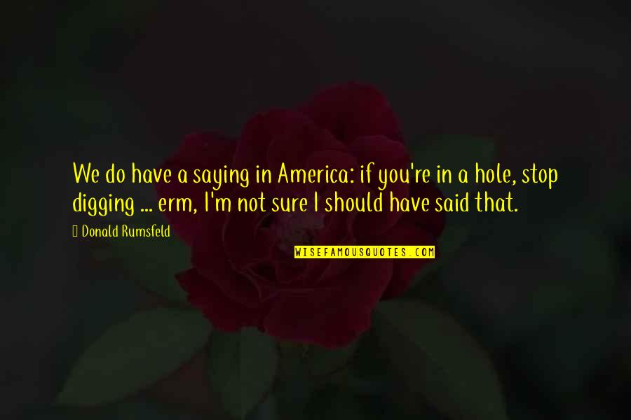 Digging A Hole Quotes By Donald Rumsfeld: We do have a saying in America: if