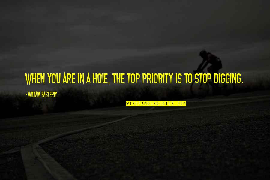 Digging A Hole Quotes By William Easterly: When you are in a hole, the top