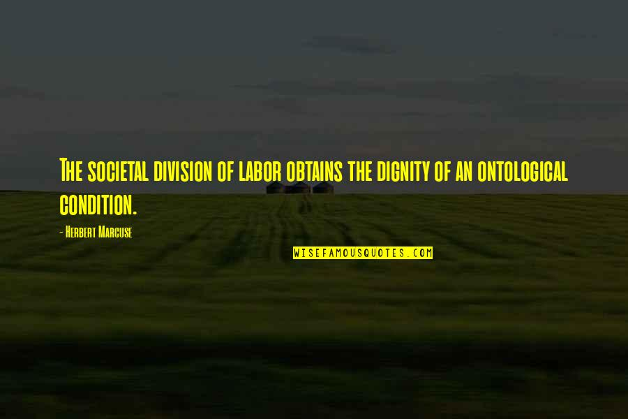 Dignity Of Labor Quotes By Herbert Marcuse: The societal division of labor obtains the dignity