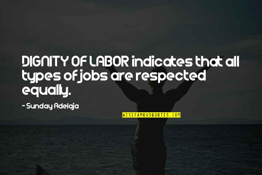 Dignity Of Labor Quotes By Sunday Adelaja: DIGNITY OF LABOR indicates that all types of